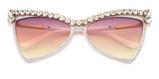 2463 Elvia Cateye white glasses