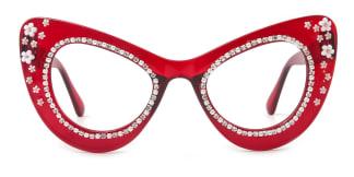 52142 Mayer Cateye red glasses
