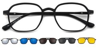 T2307 Emilie Rectangle black glasses
